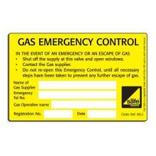 CORGIdirect Gas Emergency Control Valve Labels - WL5