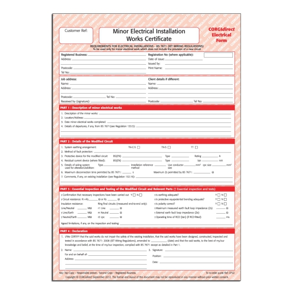 Corgidirect minor electrical works certificate cp22 for Minor electrical installation works certificate template