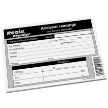 Analyser Readings Record Pad