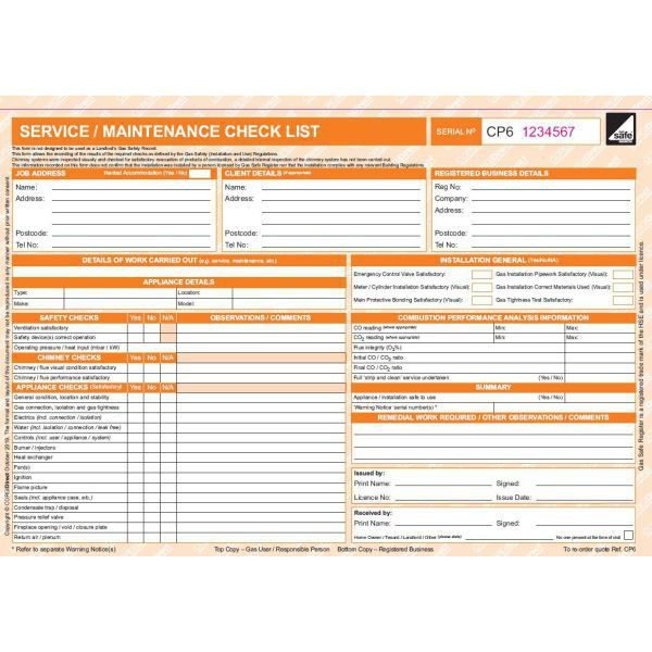 Corgidirect Servicemaintenance Checklist Form Cp6