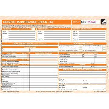 CORGIdirect Service/Maintenance checklist Form - CP6