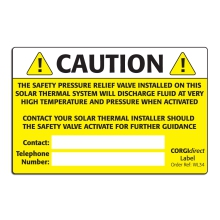 CORGIdirect Solar Thermal Caution Label - WL34