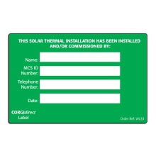 CORGIdirect Solar Thermal Installation Label - WL33