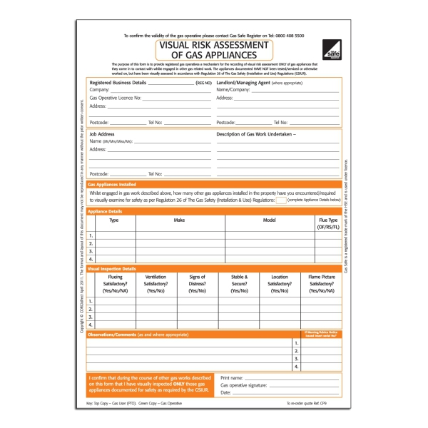 corgidirect visual risk assessment of gas appliances form