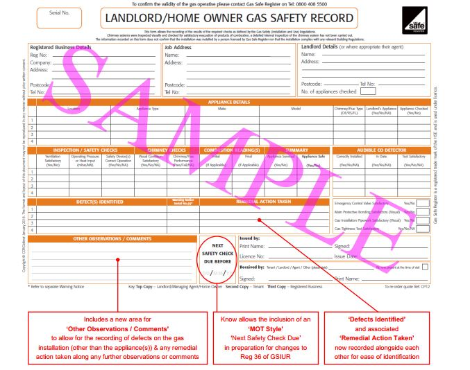 Landlord gas safety pads certificate corgidirect cp12 50 pack this cp12 form is the precise way to record the gas safety checks carried out during a landlord home owner gas safety inspection with the added security fandeluxe Images