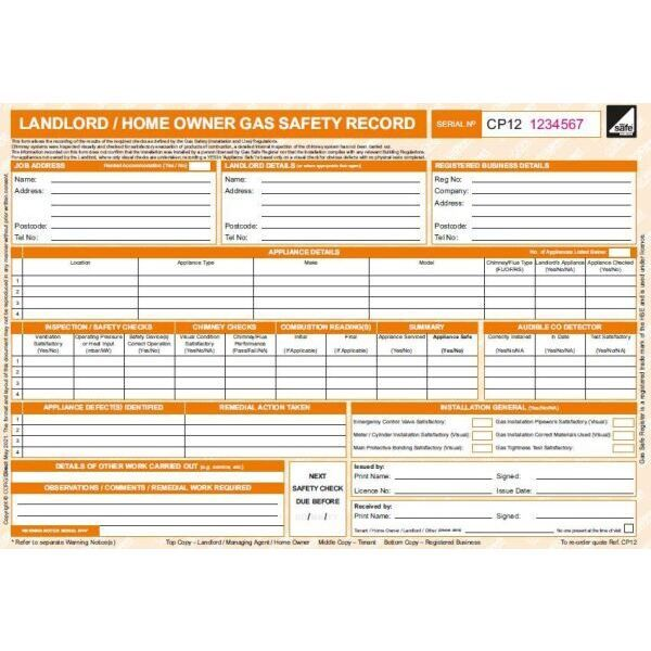 Landlord gas safety pads certificate corgidirect cp12 50 pack fandeluxe Images